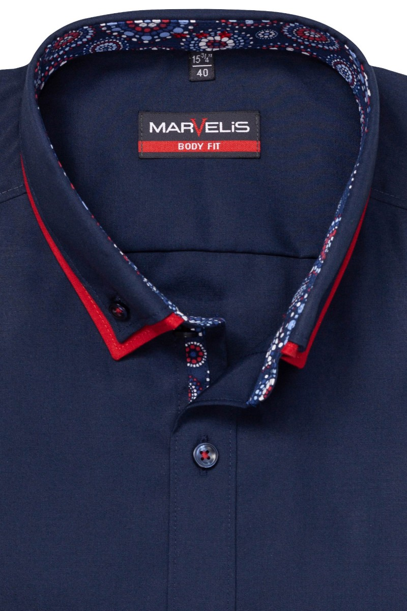Marvelis body fit Hemd 69er-Arm Doppelkragen Button-Down Kreise Patch nachtblau