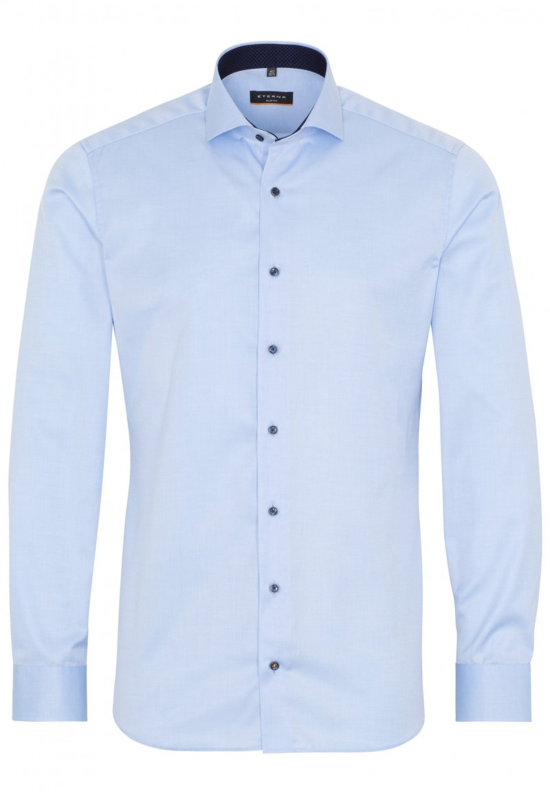 Eterna Cover Shirt slim fit Haifisch mit Patch bleu