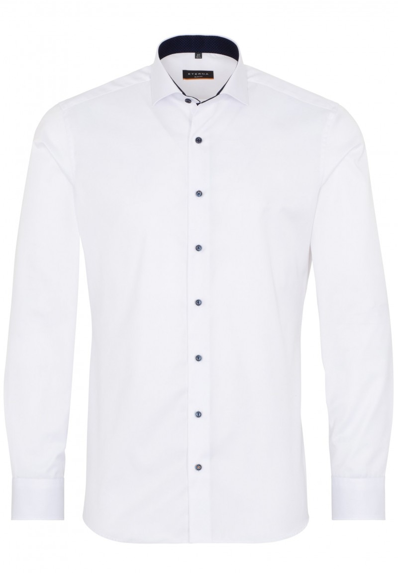Eterna Cover Shirt slim fit Haifisch mit Patch weiß