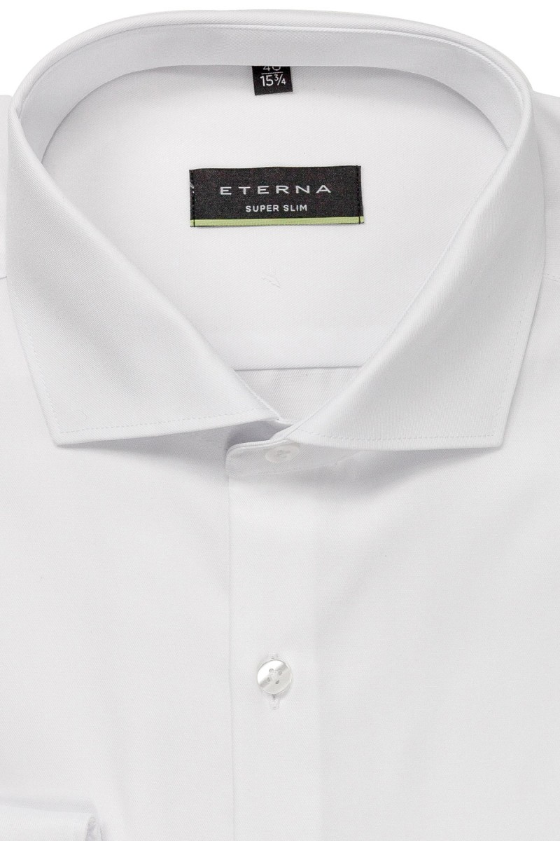 Eterna Cover Shirt super slim Haifisch weiß