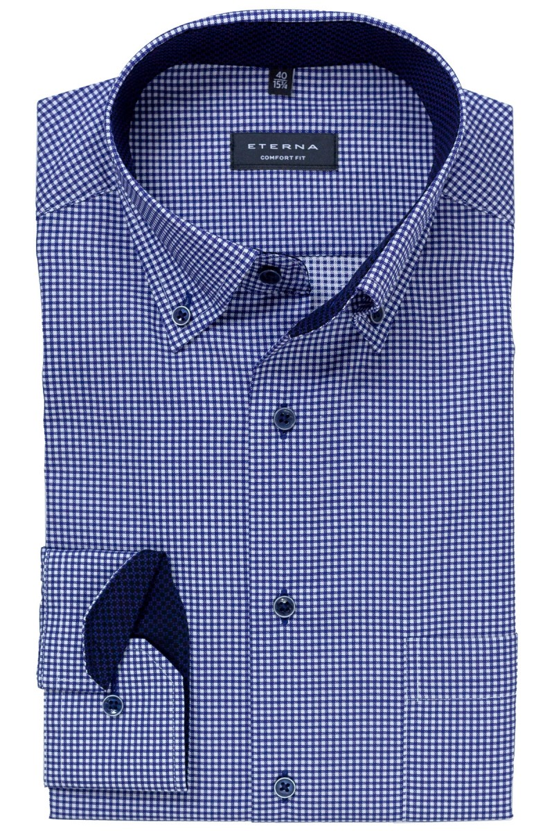 Eterna Hemd 59er-Arm comfort fit Button-Down Vichykaro marine-weiß