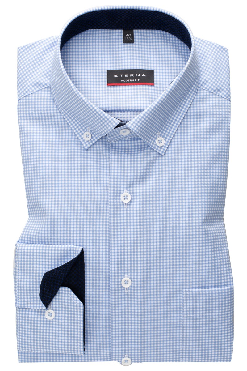 Eterna Hemd modern fit Button-Down Vichy Karo bleu-weiß