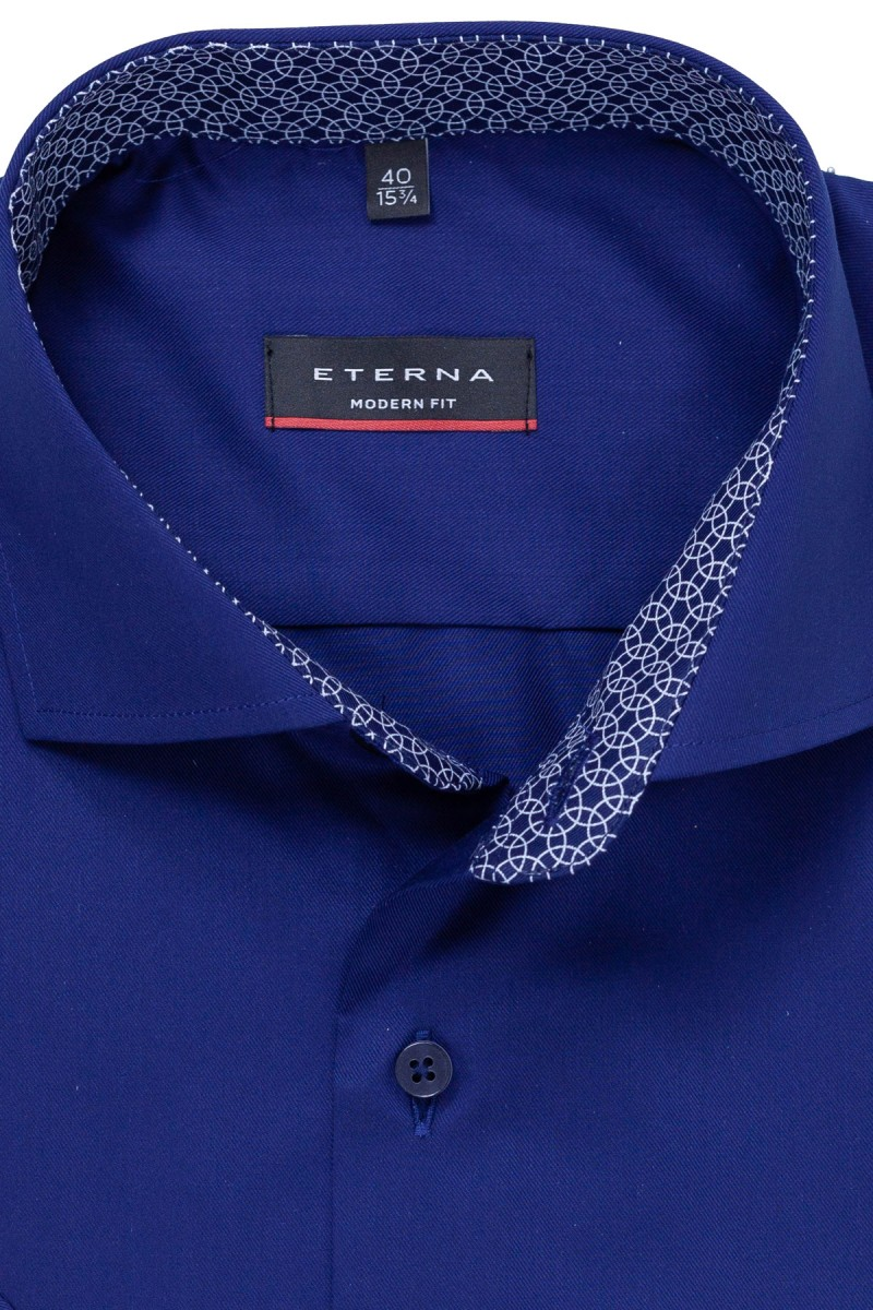 Eterna Kurzarm Cool Shirt modern fit Haifisch Kreise Patch indigo