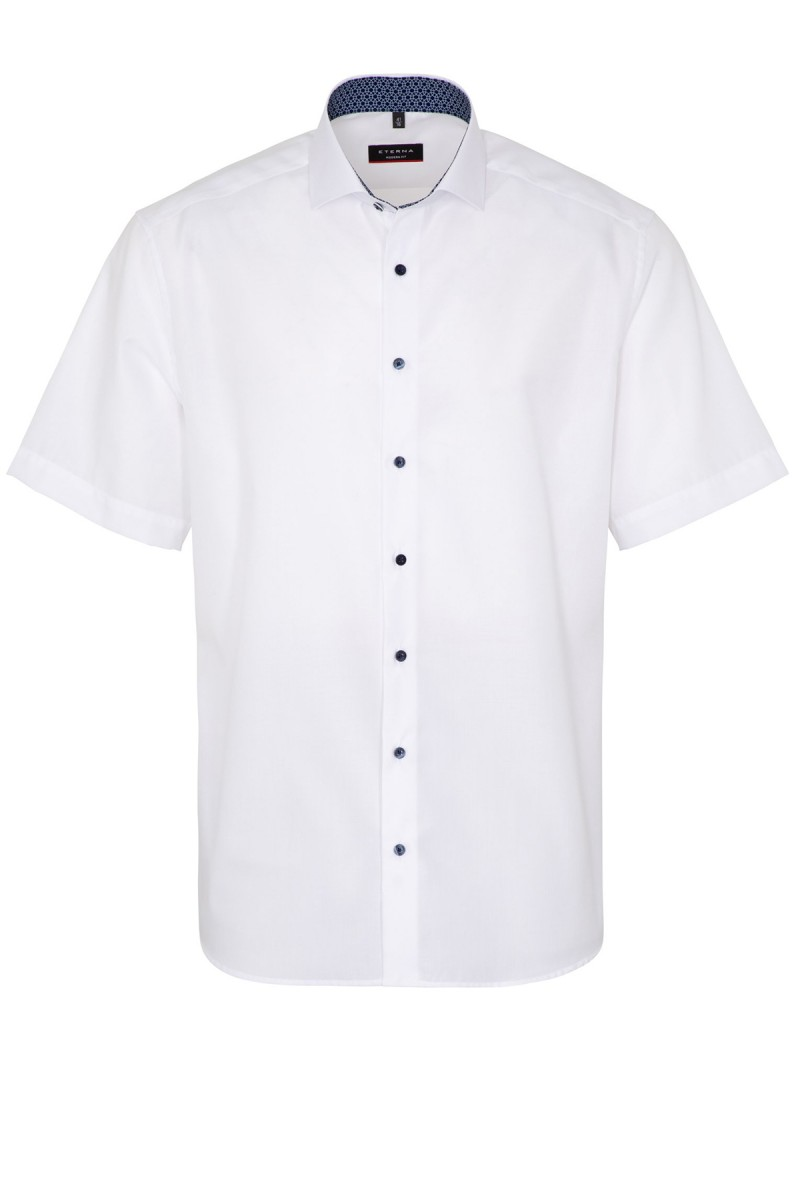 Eterna Kurzarm Cool Shirt modern fit Haifisch Kreise Patch weiß