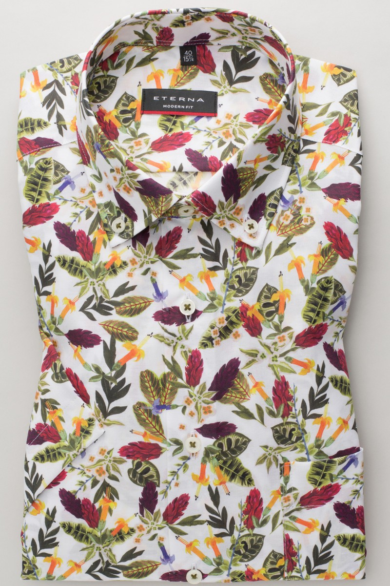 Eterna Kurzarm Hemd modern fit Button-Down Oxford Florales Muster gelb-oliv