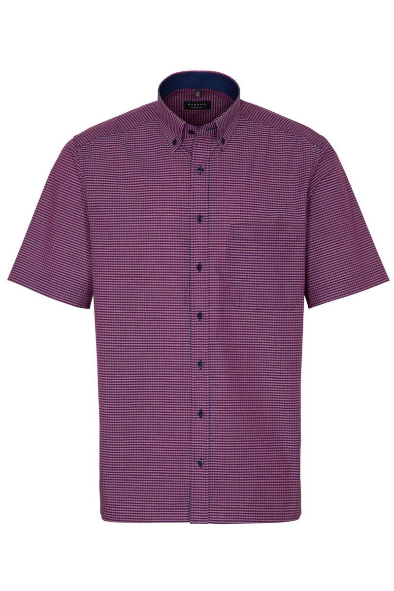 Eterna Kurzarm Hemd modern fit Button-Down Vichykaro in purpurrot-marine
