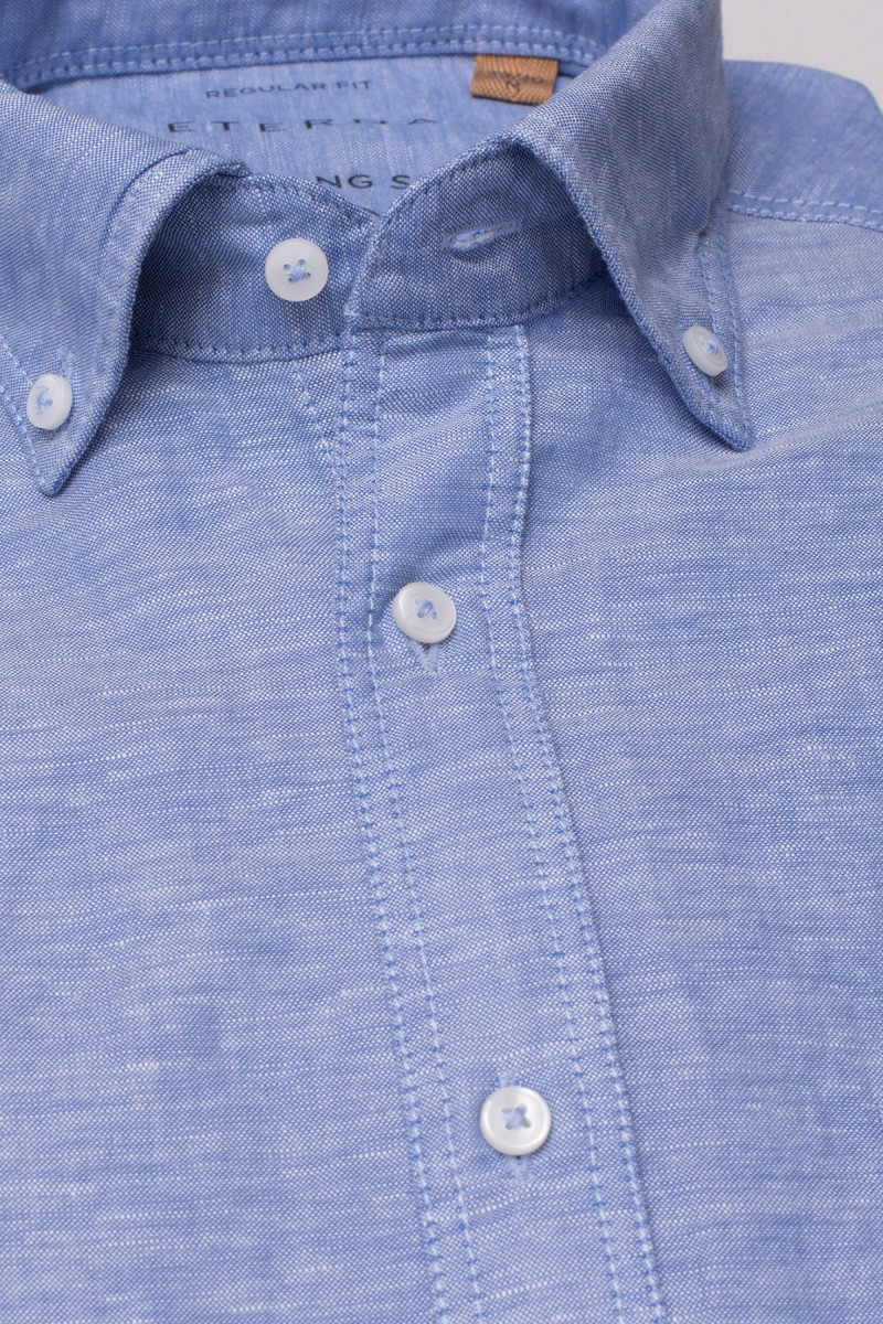 Eterna Kurzarm UPCYCLING Shirt regular fit Button-Down Leinen mittelblau