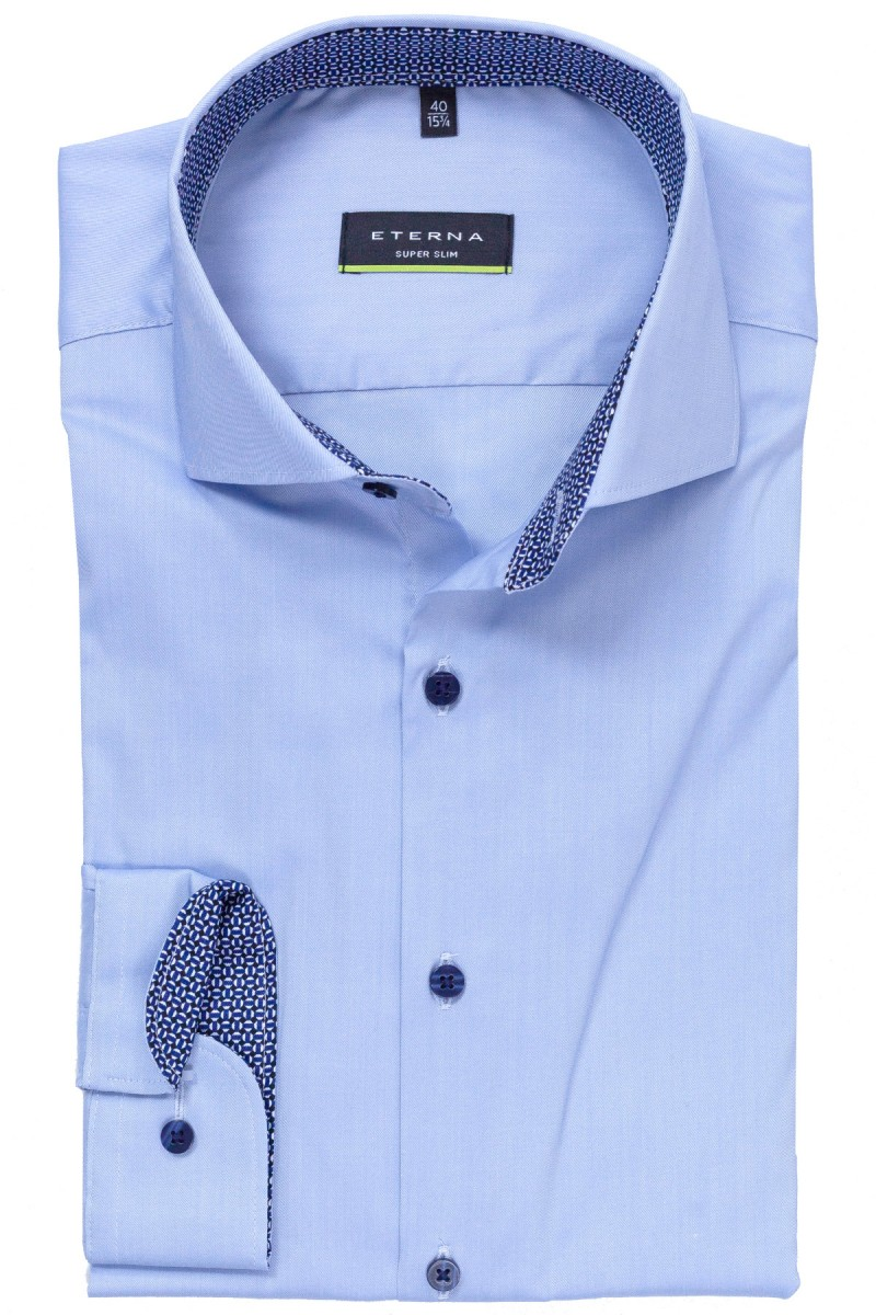 Eterna Performance Shirt super slim Stretch Haifisch Mond Patch bleu