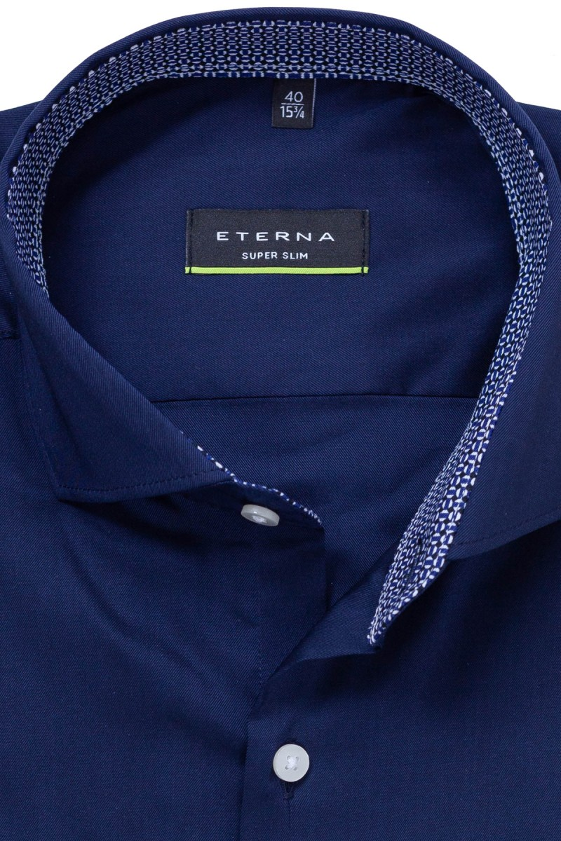 Eterna Performance Shirt super slim Stretch Haifisch Mond Patch nachtblau