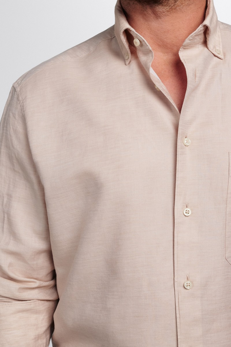 Eterna Premium Hemd 1863 Supersoft comfort fit Button-Down Leinen sand