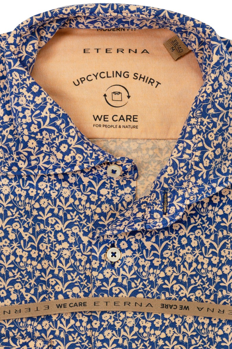 Eterna UPCYCLING Shirt modern fit Haifisch abstrakte Optik marine-lachs
