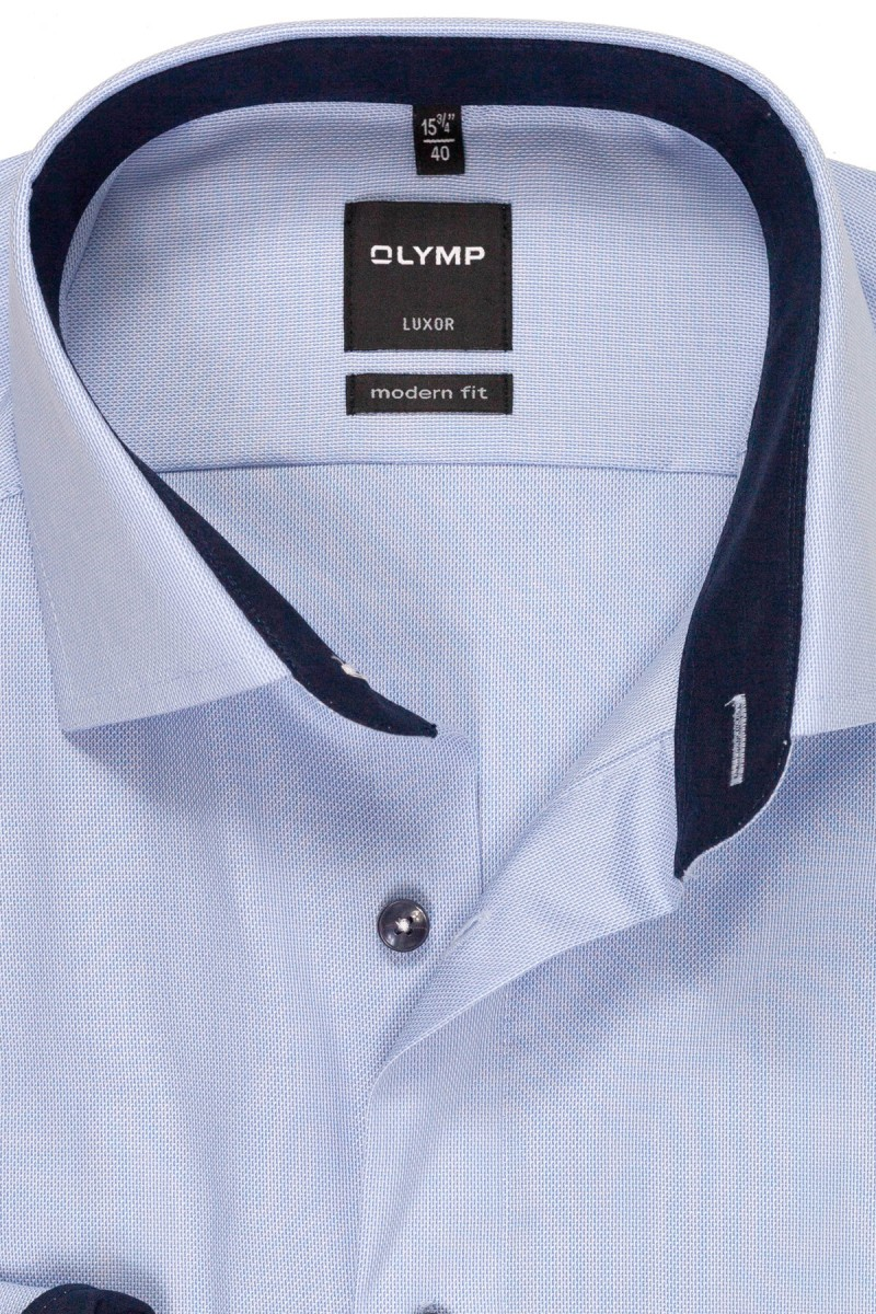 Olymp Luxor modern fit Hemd Global Kent Natté marine Patch bleu