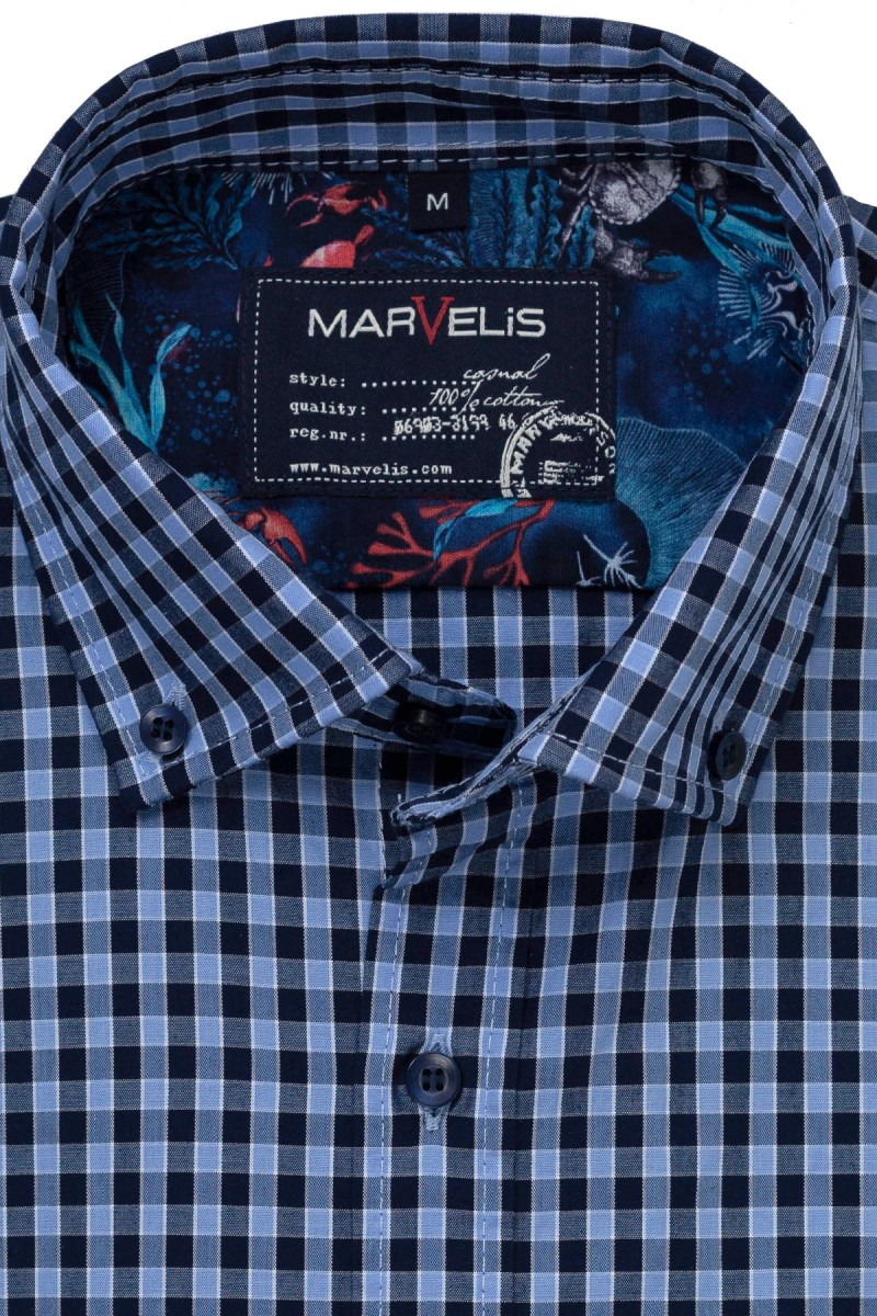 Marvelis Casual modern fit Kurzarm Hemd Button-Down Vichy Karo marine-sky