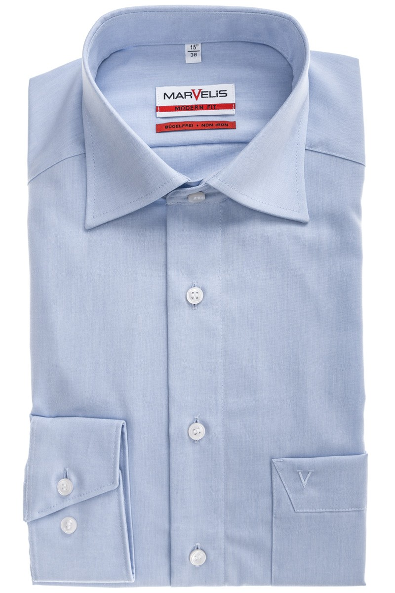 Marvelis modern fit Hemd 69er-Arm New Kent bleu