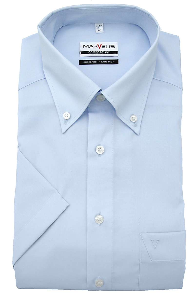 Marvelis comfort fit Kurzarm Hemd Button-Down bleu