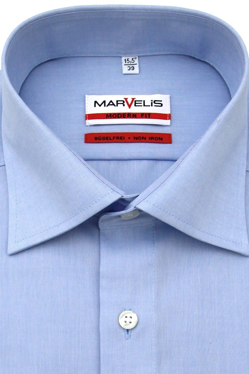 Marvelis modern fit Kurzarm Hemd New Kent Chambray bleu