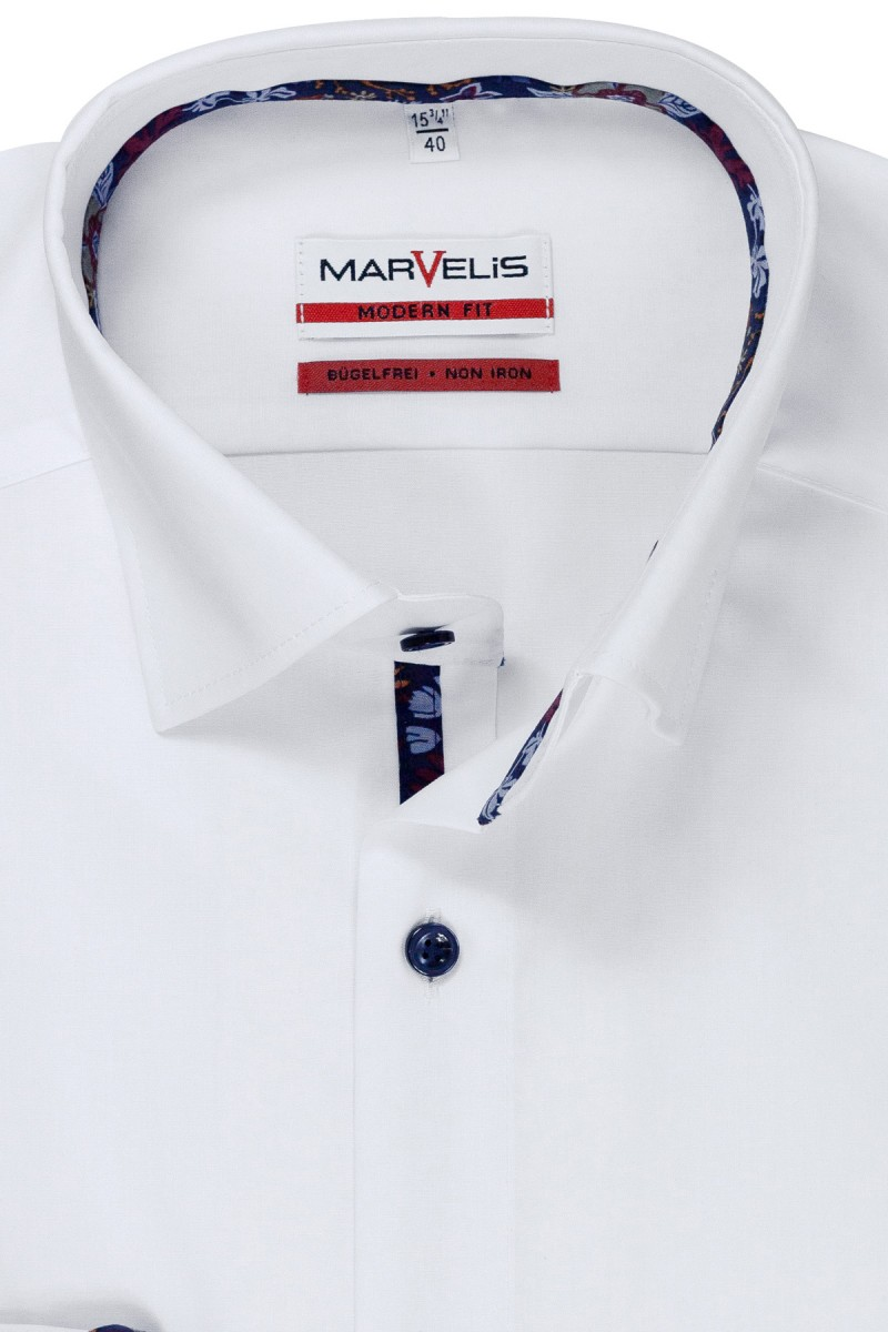 Marvelis modern fit Hemd 69er-Arm Under Button-Down weiß