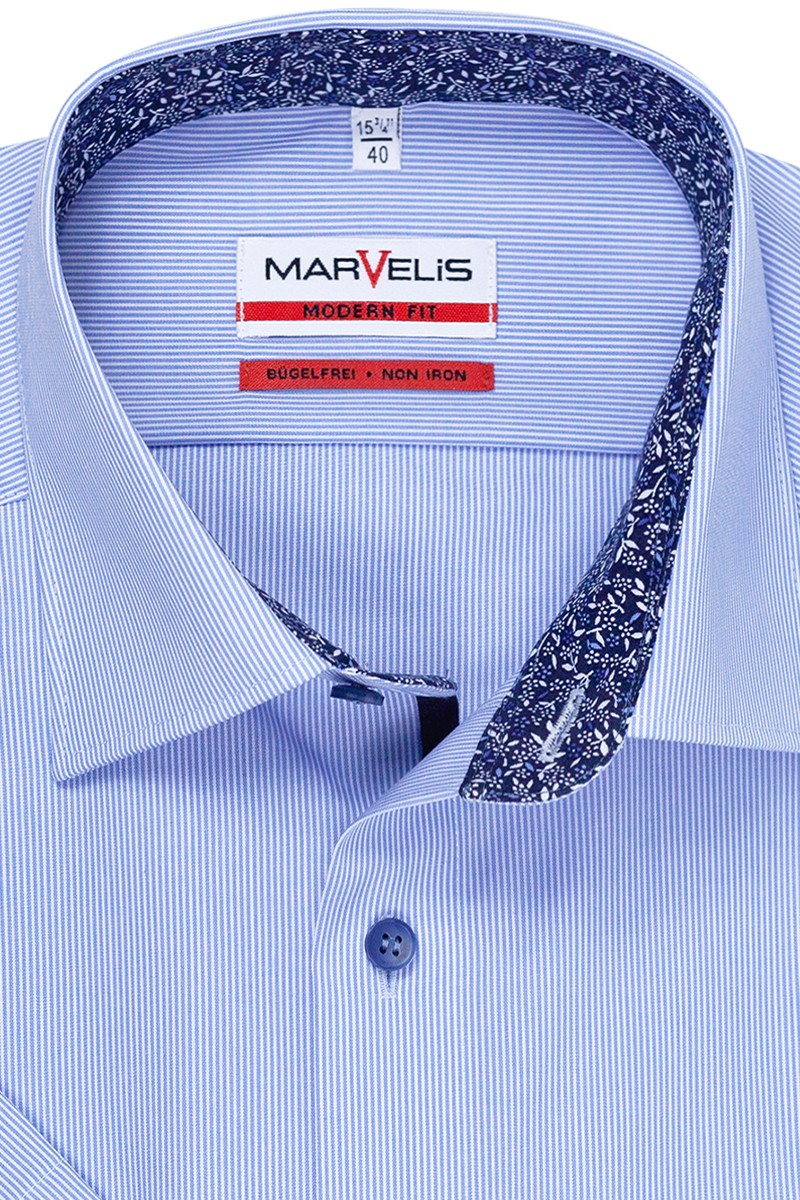 Marvelis modern fit Kurzarm Hemd New Kent Fineliner in bleu-weiß