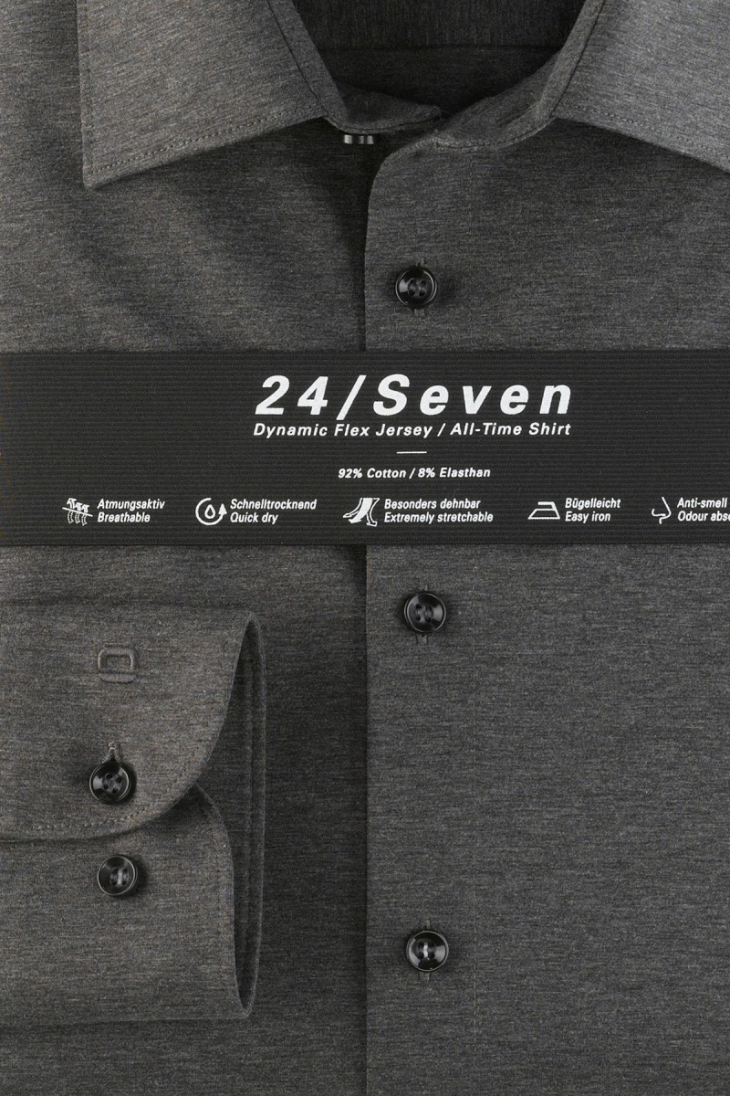 OLYMP 24/Seven Level Five body fit Jersey Hemd New York Kent anthrazit melange