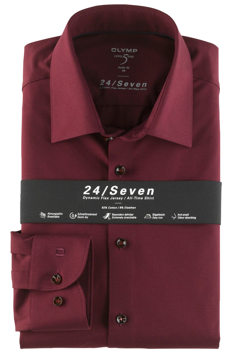 OLYMP 24/Seven Level Five body fit Jersey Hemd New York Kent bordeaux