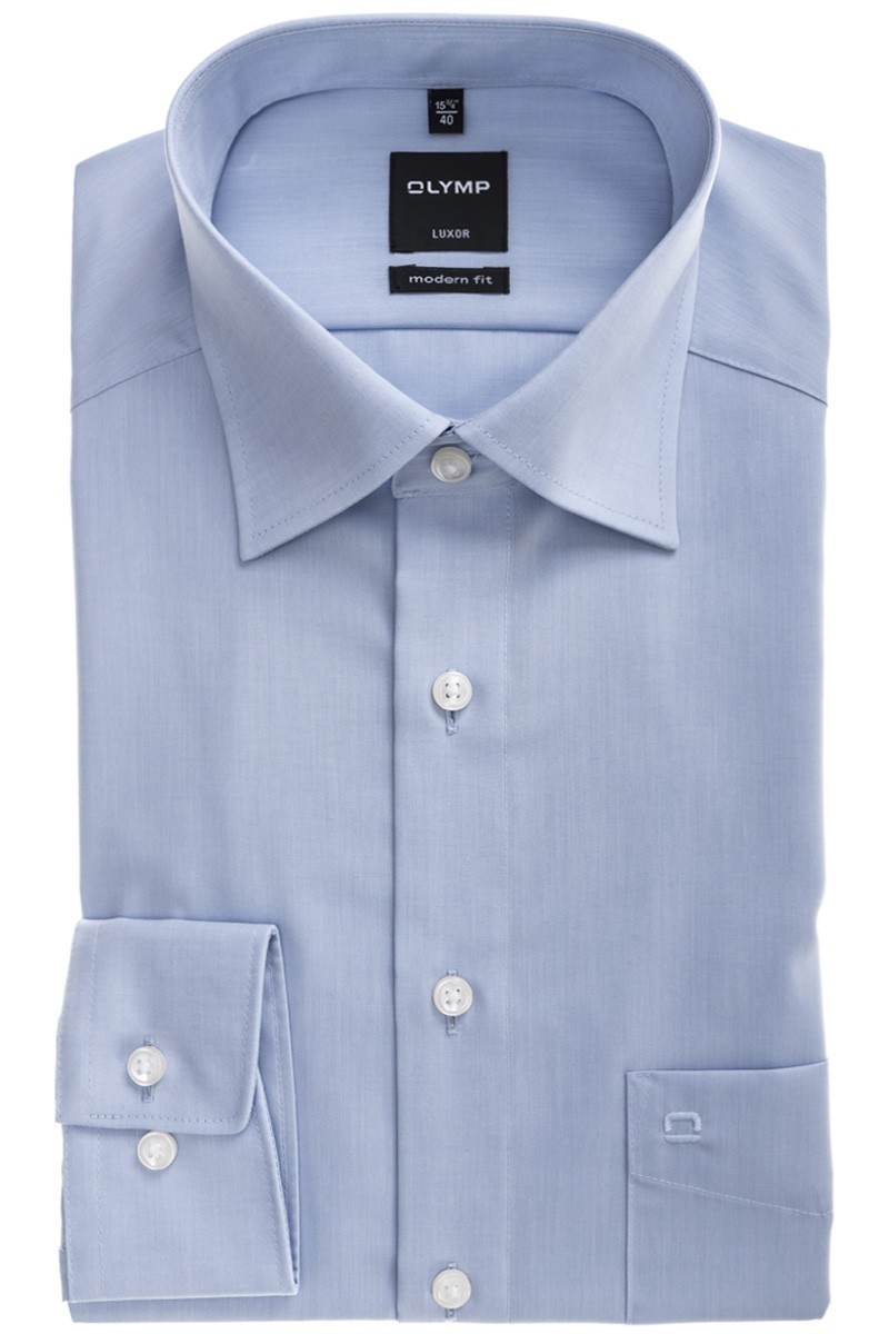 OLYMP Luxor modern fit Hemd 69er-Arm New Kent Chambray bleu