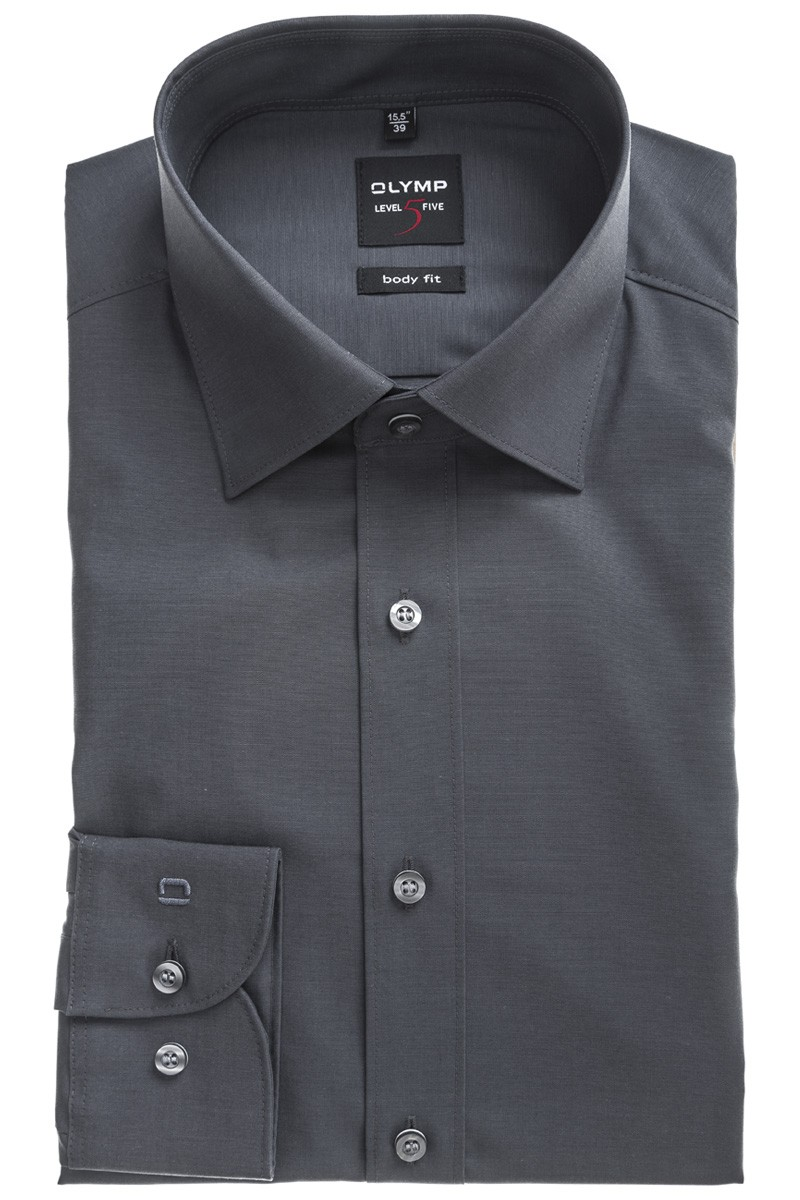 OLYMP  Level Five body fit Hemd New York Kent Chambray anthrazit