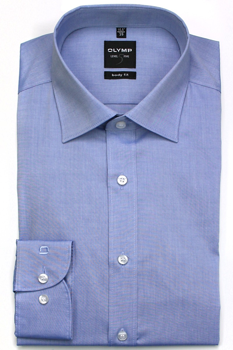 OLYMP Level Five body fit Hemd New York Kent Chambray blau