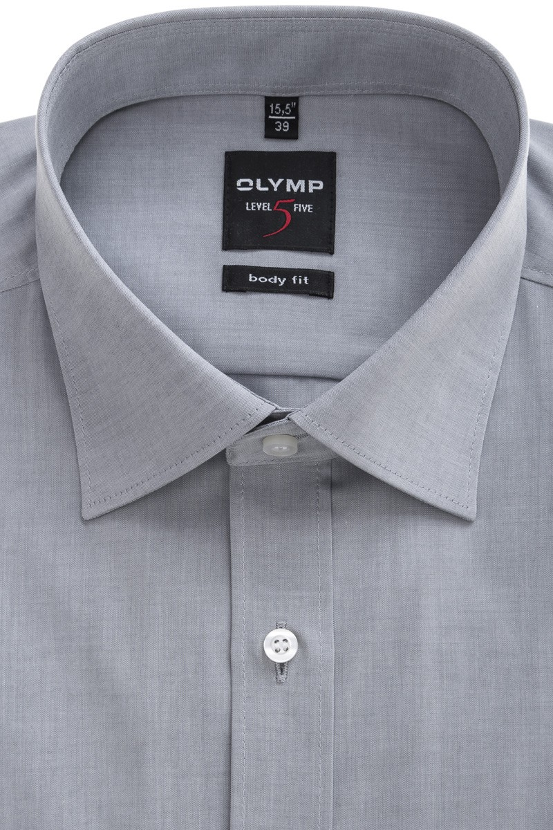 OLYMP Level Five body fit Hemd New York Kent Chambray silbergrau