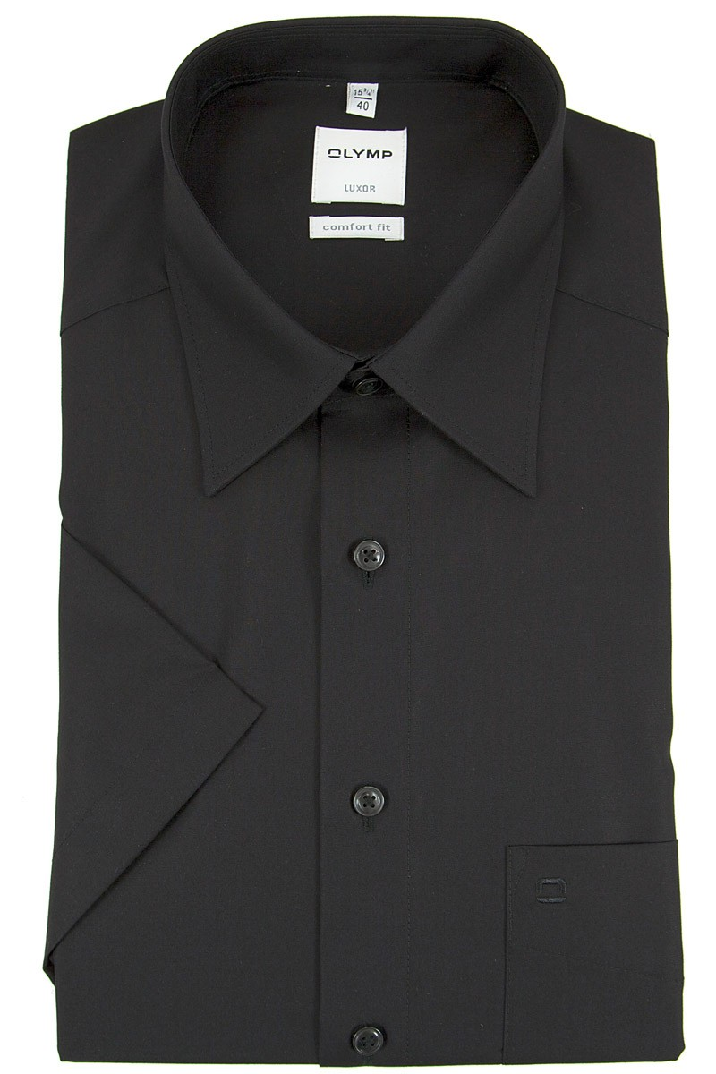 olymp olymp luxor comfort fit kurzarm hemd kent schwarz. Black Bedroom Furniture Sets. Home Design Ideas