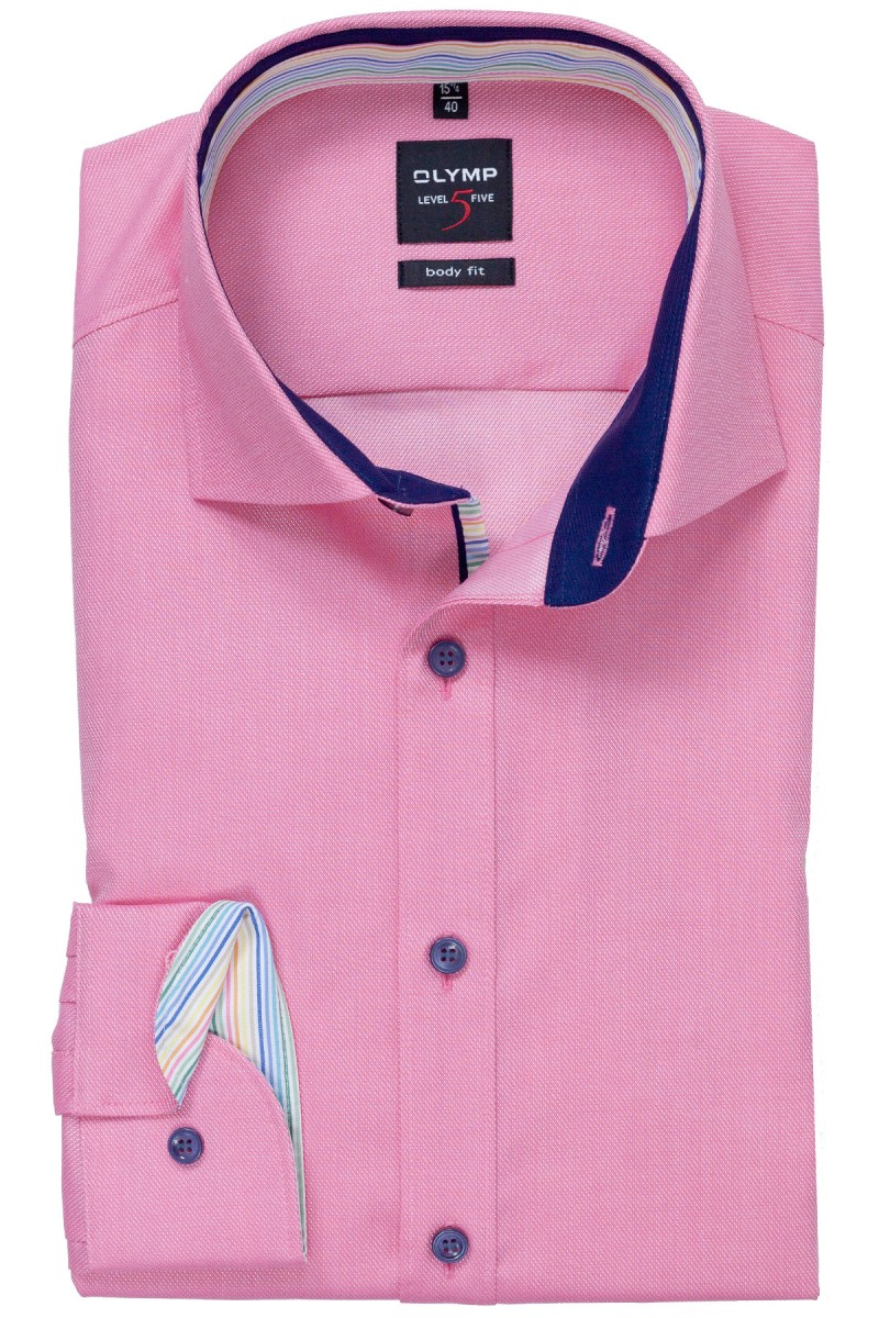 OLYMP Level Five body fit Hemd 69er-Arm Royal Kent Streifen Patch pink