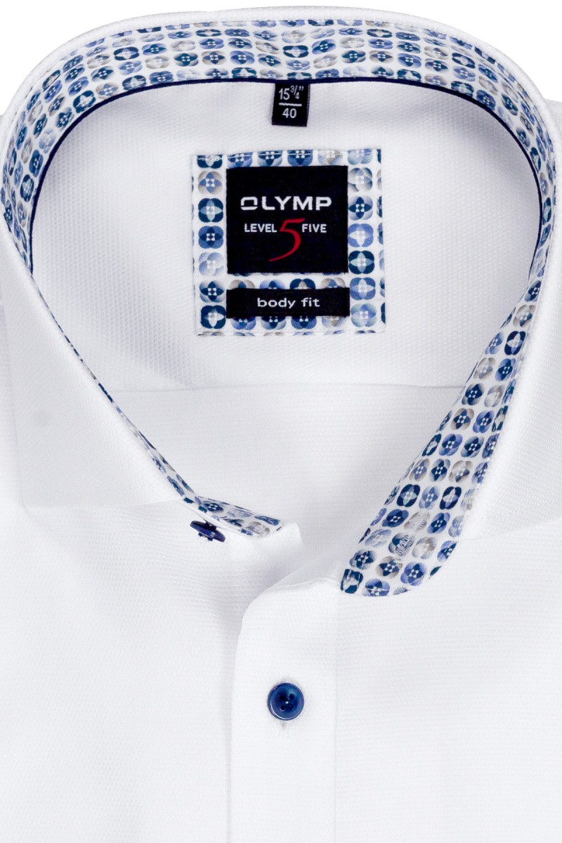 OLYMP Level Five body fit Hemd 69er-Arm Royal Kent Struktur Mosaik Patch weiß