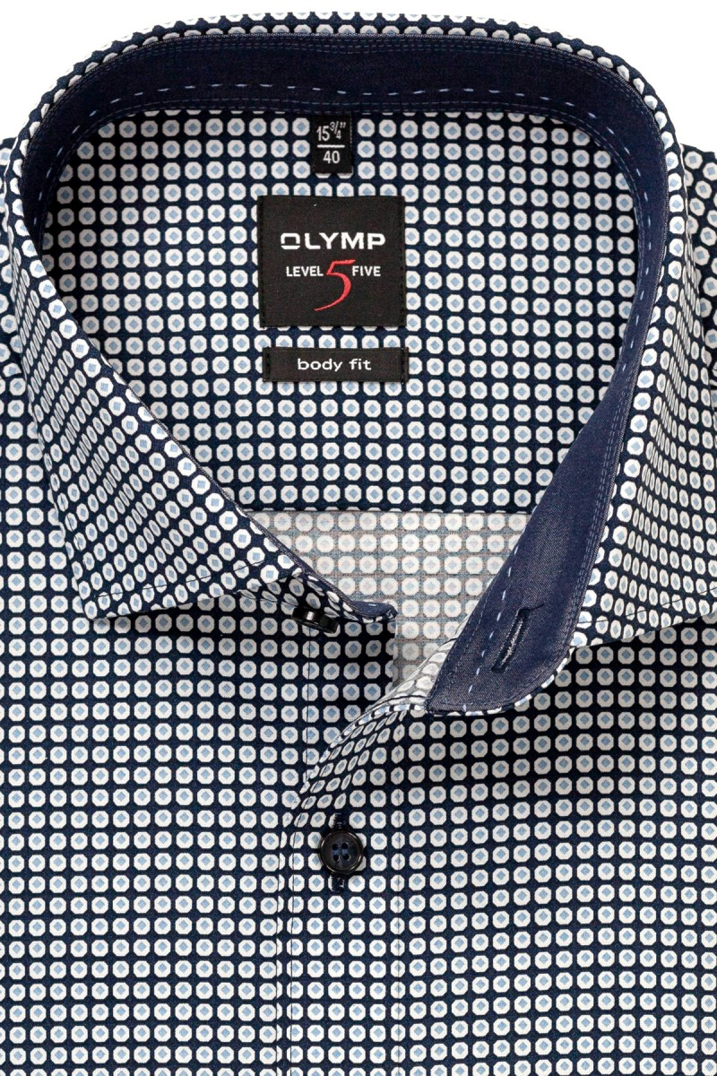 OLYMP Level Five body fit Hemd Royal Kent Kachel Muster marine-bleu