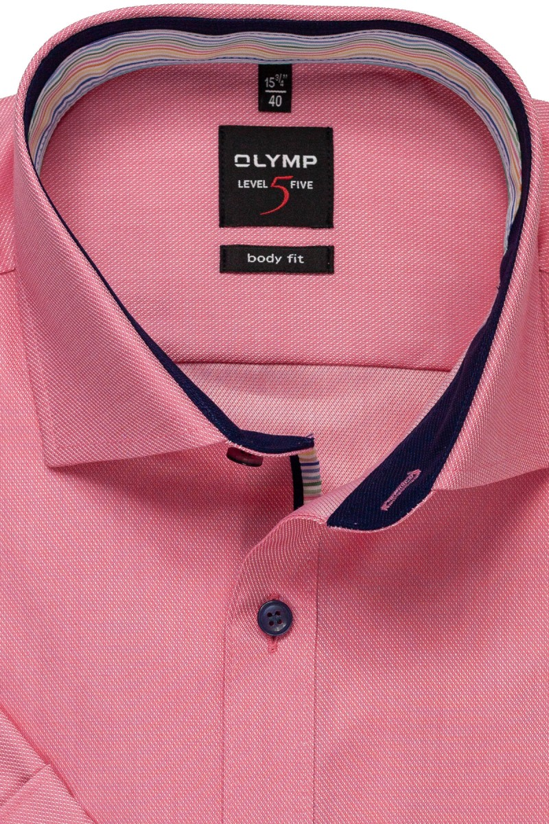 OLYMP Level Five body fit Kurzarm Hemd Royal Kent Streifen Patch pink