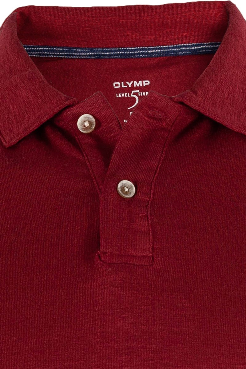 OLYMP Level Five Polo body fit Leinen dunkelrot