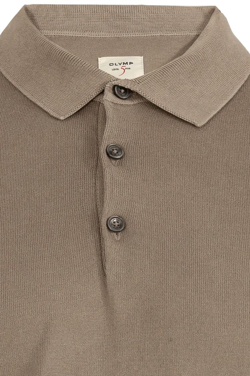 OLYMP Level Five Strick body fit Pullover Polo Kragen schlamm