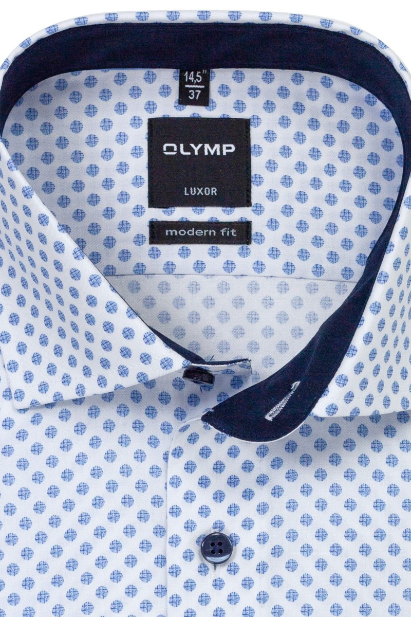 OLYMP Luxor modern fit Hemd 69er-Arm Global Kent Murmel Optik bleu-weiß