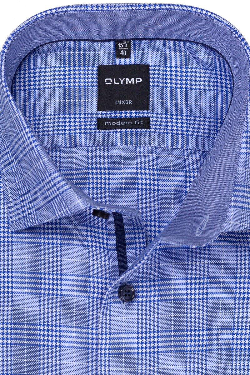 OLYMP Luxor modern fit Hemd Global Kent Glencheck royal-weiß