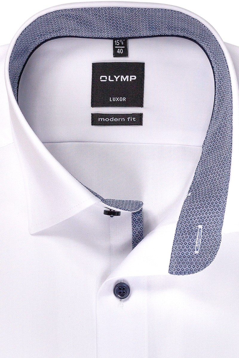 OLYMP Luxor modern fit Hemd Under Button-Down blauer Rauten Patch weiß