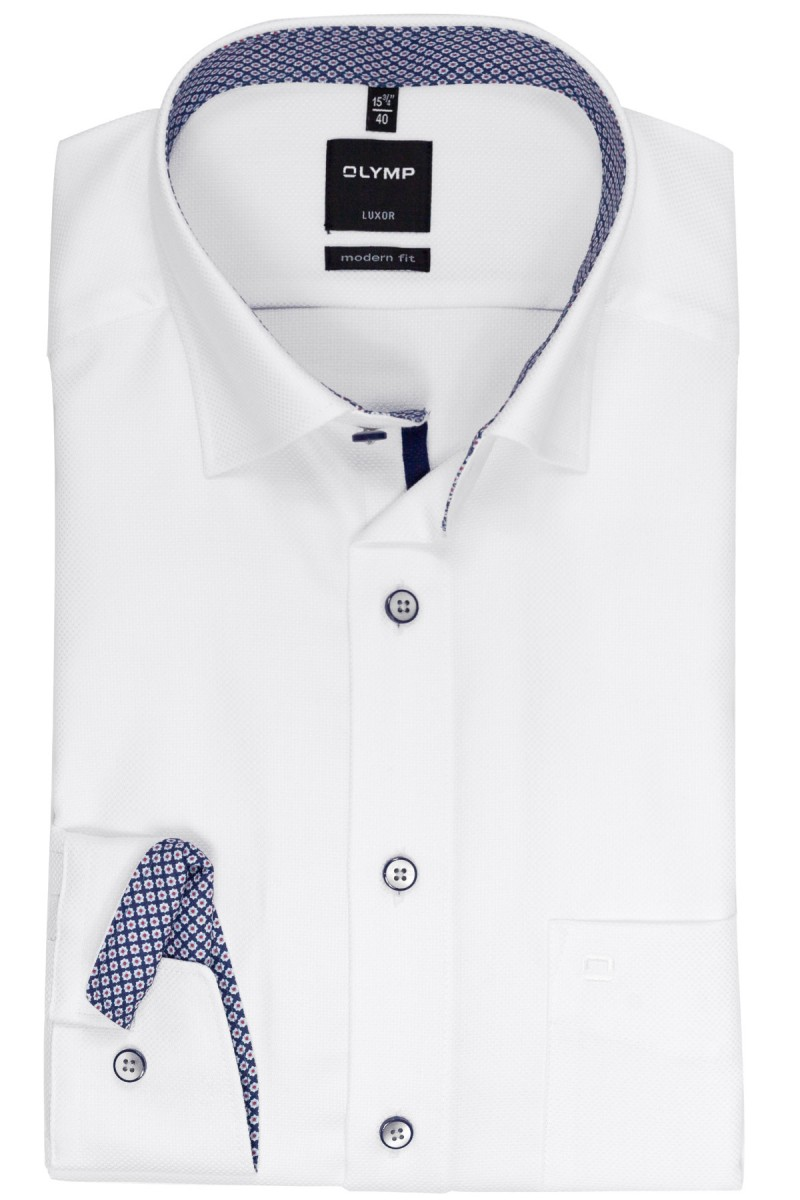 OLYMP Luxor modern fit Hemd Under Button-Down Struktur Print Patch weiß