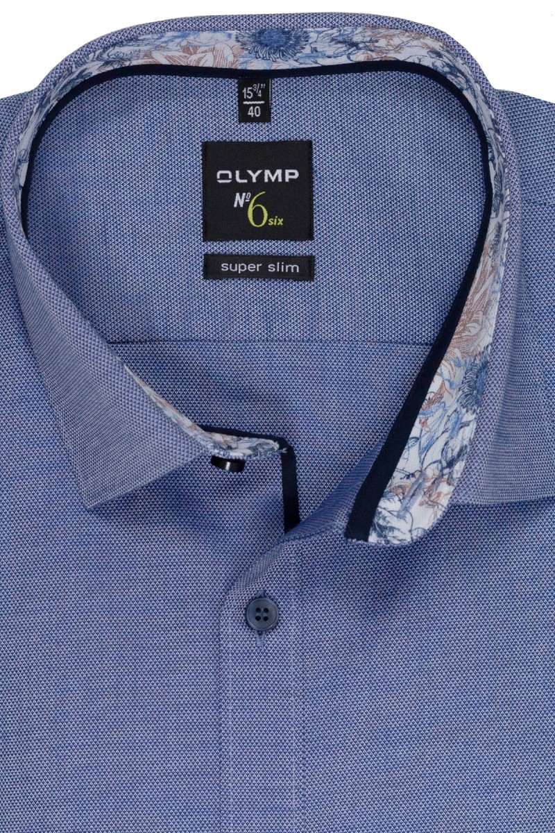 OLYMP No. Six super slim Hemd 69er-Arm Urban Kent Struktur Blumen Patch jeansblau