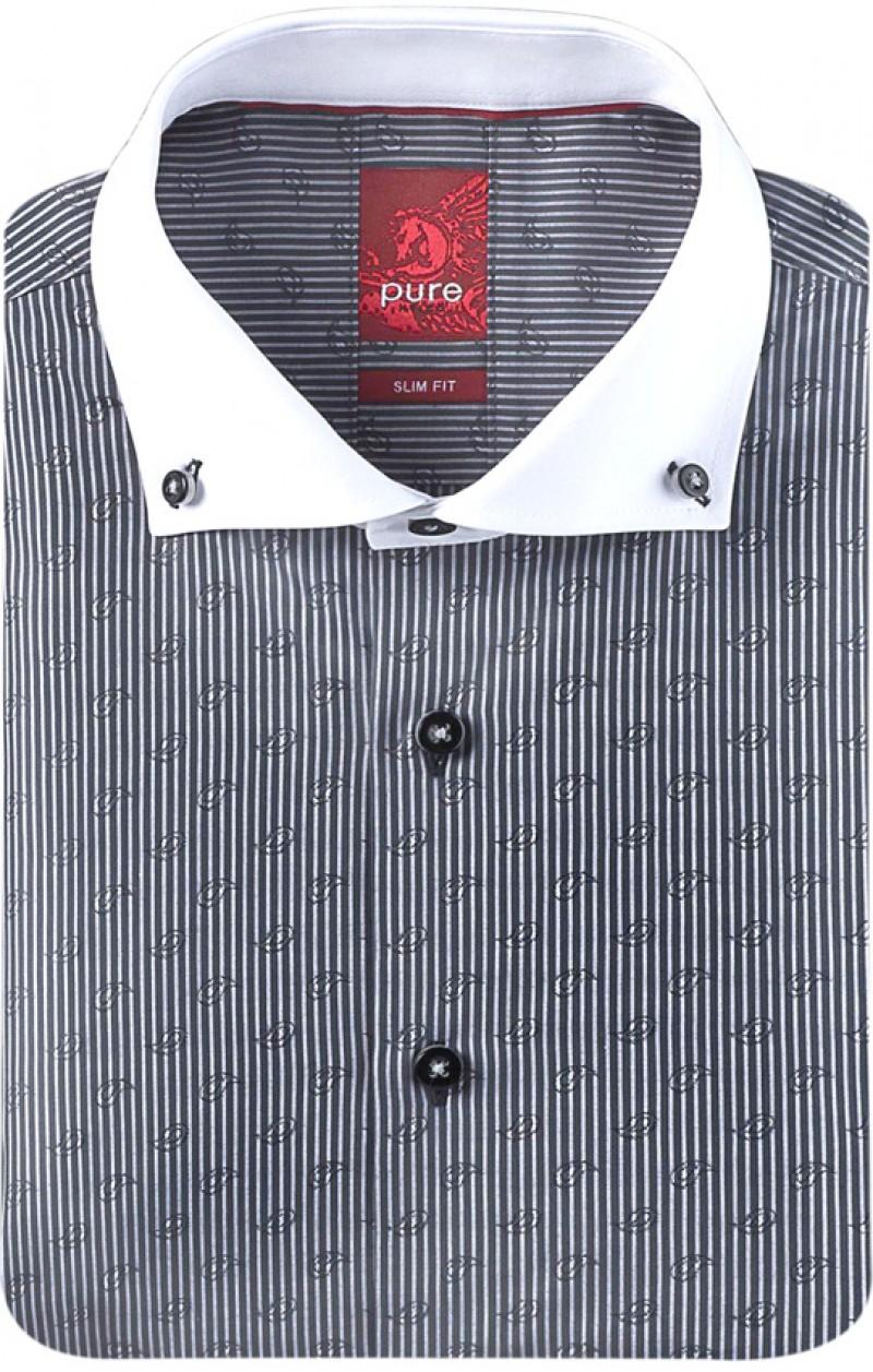 Pure pure hemd slim fit gekn pfter b315257100 076 - Vollzwirn hemd ...