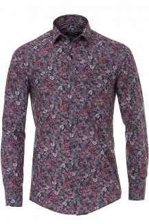 CASAMODA Casual Hemd 72er-Arm casual fit Kent Paisley weinrot-marine