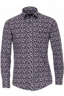 Casamoda Casual casual fit Hemd 72er-Arm Under Button-Down gemusterte Kreise weinrot-marine