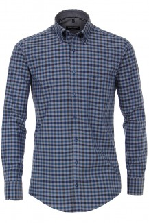 CASAMODA Casual casual fit Hemd Button-Down Karo jeansblau-grau
