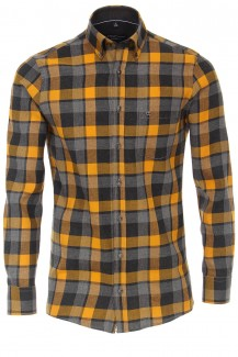 CASAMODA Casual Hemd comfort fit Button-Down Feinflanell Flächenkaro anthrazit-mais