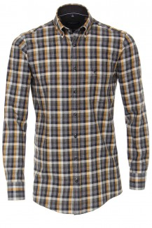 CASAMODA Casual Hemd comfort fit Button-Down Feinflanell Wischkaro anthrazit-mais