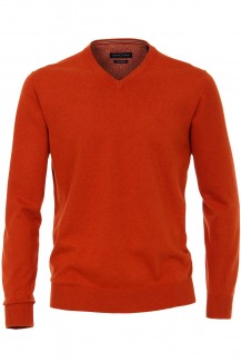 CASAMODA Strick modern fit Pullover V-Ausschnitt Pima cotton orange