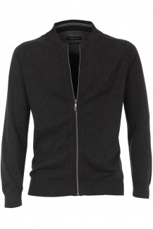 CASAMODA Strick modern fit Strickjacke College Kragen anthrazit