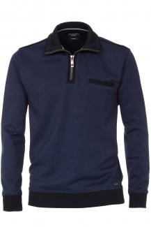 CASAMODA Sweat modern fit Troyer mit Zip easy care marine