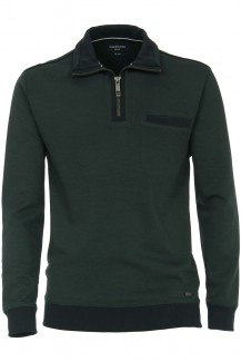 CASAMODA Sweat modern fit Troyer mit Zip easy care petrol